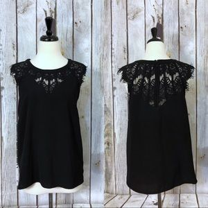 Stitch Fix Brixon Ivy Black Lace Cap Sleeve Blouse